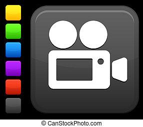 película, câmera, ícone, ligado, quadrado, internet, botão