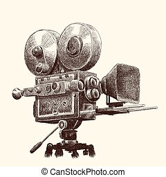película, câmera., vindima