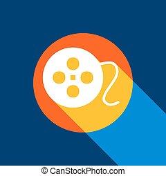 película, circular, signo., vector., blanco, icono, en, tangelo, círculo, con, infinito, sombra, de la luz, en, fresco, negro, fondo., selectivo, amarillo, y, brillante, azul marino, ser, produced.