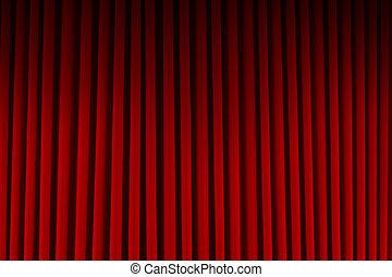 película, cortinas rojas