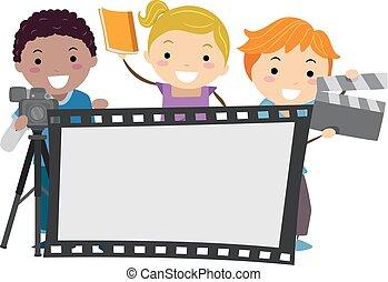 película, crianças, stickman, tábua, ilustração
