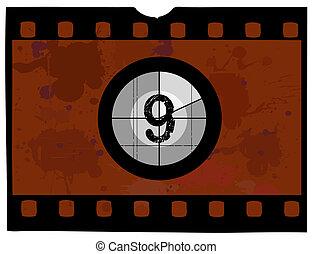 película, cuenta atrás, -, en, 9