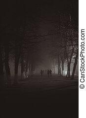 película, estilo, fog., otoño, noir, horror, escena, ...