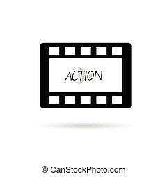 película, fita, ação, vetorial, ilustração