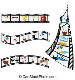 película, fita, com, praia, itens, vetorial, ilustração