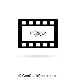 película, fita, horror, vetorial, ilustração