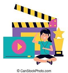 película, gente, cine