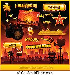 película, hollywood, elementos, cine