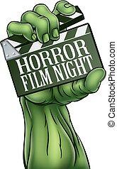 película horror, noturna, zombie, monstro, tábua clapper