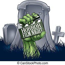 película horror, zombie, ou, monstro, tábua clapper, sinal