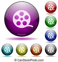 película, icono, rollo, botones, esfera, vidrio