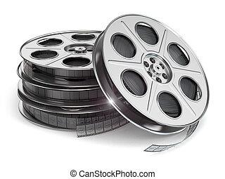película, isolado, branca, carretéis, experiência.
