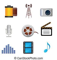 película, música, fotografia, mídia, ícones