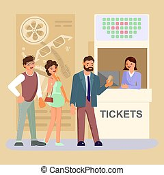 película, mostrador, entrada teatro