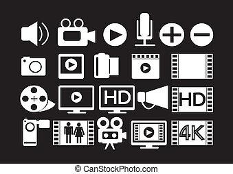 película, multimedia, vídeo, iconos