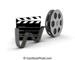 película, pizarra, carrete, película