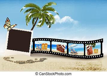película, praia., fita, férias, vector.
