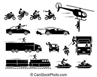 película, scene., coche, héroe, persecución, motocicleta, ...