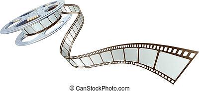 película, spooling, carrete, película, afuera