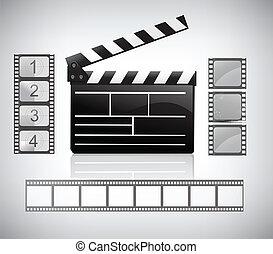 película, tabla, filmstrip, badajo
