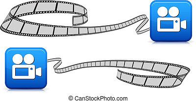 película, tiras, branco, com, câmera, ícone