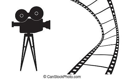 película, vector, cámara, ilustración, cine