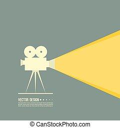 película, vector, proyector, illustration.