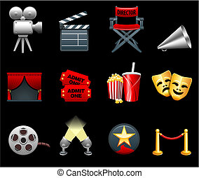 película, y, películas, industria, icono, colección
