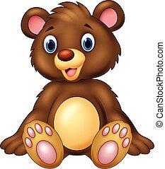 pelúcia, adorável, urso, sentando