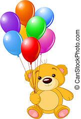 pelúcia, coloridos, segurando, urso, balões