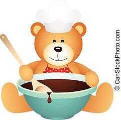 pelúcia, cozinheiro, urso, tigela