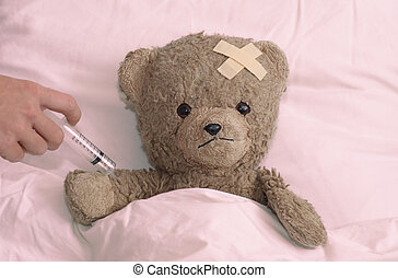 pelúcia, em, hospitalar