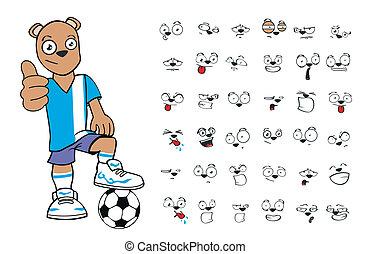 pelúcia, futebol, urso, cartoon1