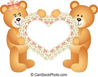pelúcia, par, urso