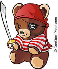 pelúcia, personagem, caricatura, urso, pirata