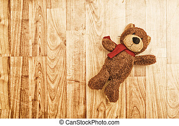 pelúcia, urso, chão