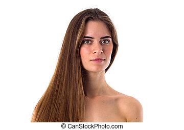 pelado, cabelo, mulher, longo