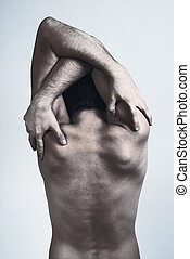 pelado, costas, homem
