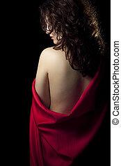 pelado, desgastar, mulher, cetim, vermelho
