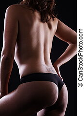 pelado, excitado, mostrando, mulher, alvo