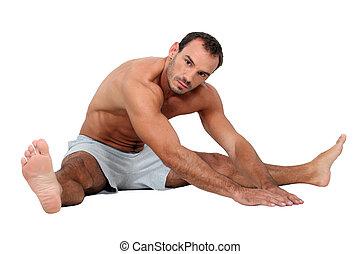 pelado, exercícios, metade, homem