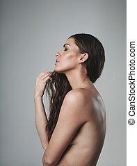 pelado, femininas, modelo, ligado, cinzento, fundo