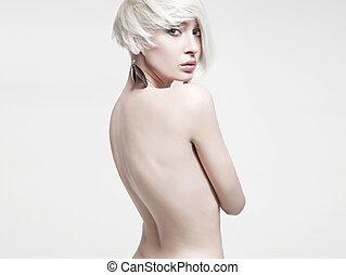 pelado, foto, estilo, mulher, voga