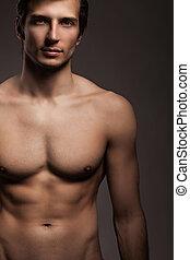 pelado, homem, torso, jovem, bonito