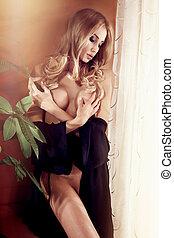 pelado, loiro, mulher, sensual, posing.