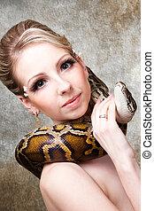 pelado, loura, python, cinzento, atraente, mulher