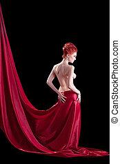 pelado, luz, mulher, vermelho, deslumbrante