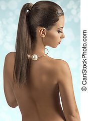 pelado, menina, costas