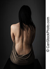 pelado, menina, posar, costas