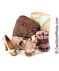 pelado, moda, composição, accesories